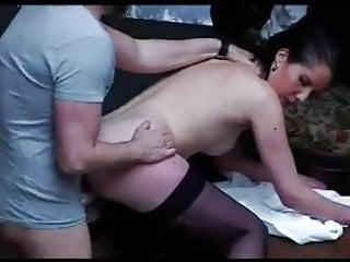 FRENCH CASTING n55 hairy anal brunette in threesome dp