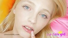 Cute blonde teenie gets sensual aroused in 4K