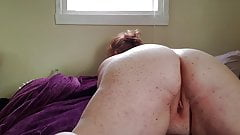 BBW redhead fucks her thick ass