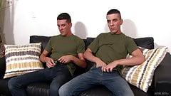 Straight Army Big Dick Twins Masturbate While Watching Porn