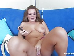 Sexy Natasha plays and masturbates on set