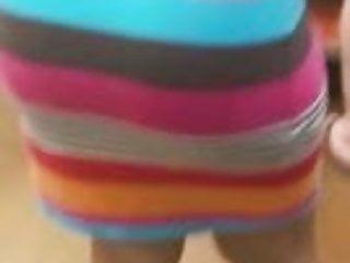 Shorty in stripe dress with vpl
