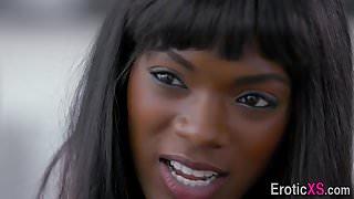 Ebony stunner cum sprayed
