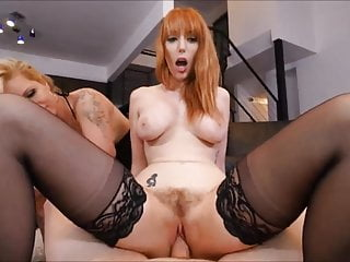 Tattooed Mature Slut & Teen Share Cock