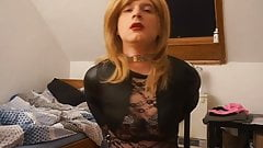 Sissy BDSM whore cuffs herself, wanking, cumming & spanking