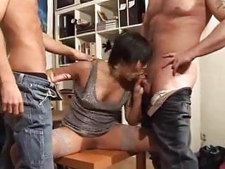 Preview 2 of Amateur - MMF Threesome short hair Mature