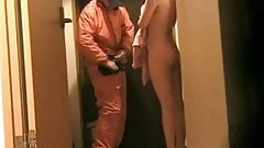 Amateur naked at door