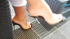 Ellise Brown in transparent high heel mules