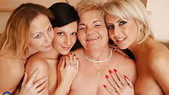 Lesbian porn with granny in hot foursome