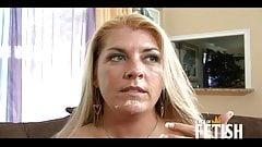 Blonde MILF with big boobs sucks a big black cock