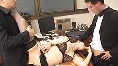 Secretary fucks two. Double penetration.