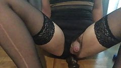 Sissy takes BBC while touching her clitty