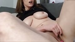 Dirty MILF finger fucks her squirting pussy