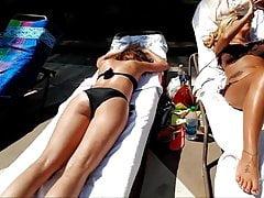A couple of nice bikini girls crotch and ass
