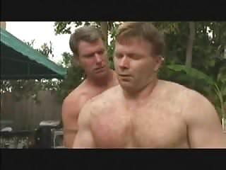 Gay poolside threesome