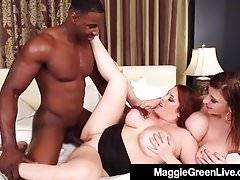 Curvy Blonde Maggie Green & Busty Milf Sara Jay Fuck A Cock!