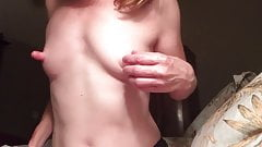 Redhead, Little Tits and Huge Nipples in Suction