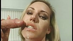 Tanned blonde blows hard