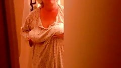 Exposed and unaware wife Cora getting out of the shower
