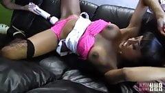 Hot lesbian caught wanking toy makes busty ebony slut cum