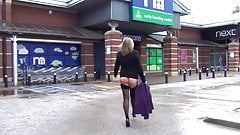 Sam Goes Window Shopping in Stockings & Heels