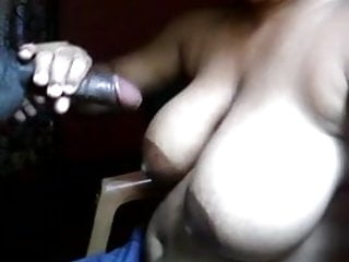 wife sucking my cock till cum on her boobs
