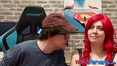 UK MILF Devon Breeze sucking cock deepthroat in audition