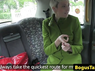 Blonde brit wanks cabbies cock before fucking