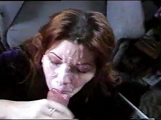 Beautiful wife takes huge facial cumshot