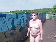 Naughty Mature's Daring Naked Railway Footbridge Walk