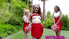 Young cheerleader besties eating cum after POV foursome sex
