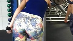 Hot trainer and milf working out in gym spy