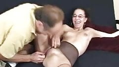 Nerdy Nikki's Nylons Ripped And Her Cunt Eaten