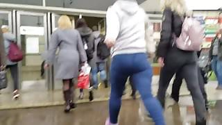 Mature woman with massive ass at rainy day