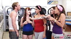 Four sexy teens fucking at laundry day