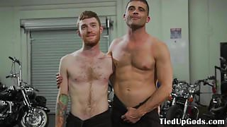 Ripped bdsm dom restrains and gags ginger sub