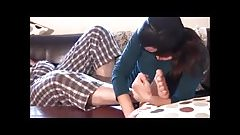 Female licks male feet (00832)