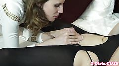 Glam lesbian trans assfucking in stockings