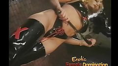 Sexy long haired slave meets the flogger for the first time