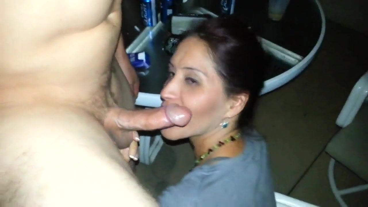 You woman gives blowjob to her friend