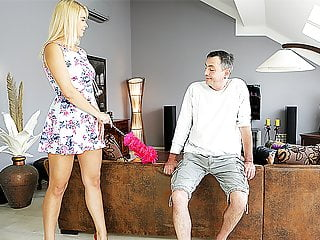 DADDY4K. Busty chick fucked by old man next to her...