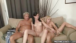 Threesome with old parents and his girlfriend