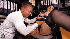 Chubby mom gets anal sex in the office