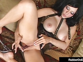 Hot Busty RubberDoll Dildo Fucks In See Thru Latex & Heels!