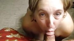 Cam show.Milf sucking dick with cum on tits.