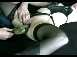 Milf gets fucked by a wine bottle