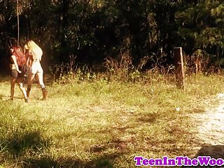 Petite teen facialized by a creep in woods