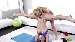 take turns eating yoga pussy.