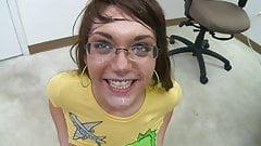 Lisa gets Cum on her Glasses's Thumb