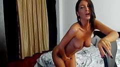 Stunning Brunette Teasing And Fingering Her Bald Pussy